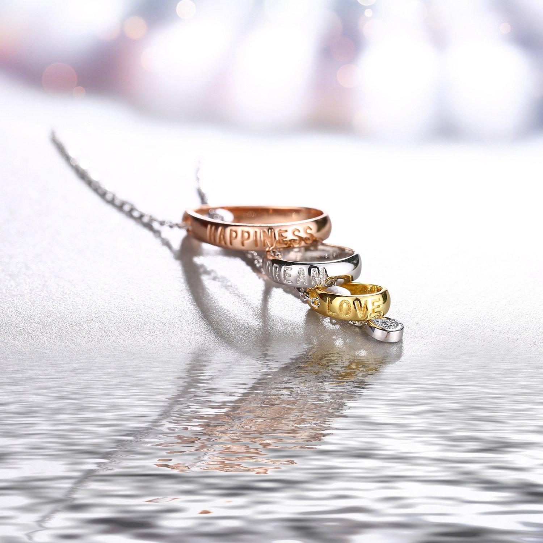 Collana in Argento 925 J.Ros/éeLe lacrime di Venere 5A Zircone per Donna Tre colori bianco//oro//oro rosa Regalo di San Valentino