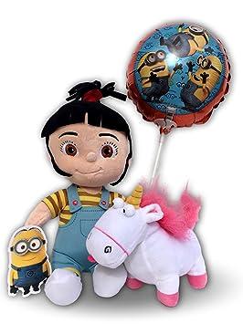 Peluches Agnes Minion 25cm con Unicornio 15cm y Globo Original Pelicula Gru Mi Villano Favorito