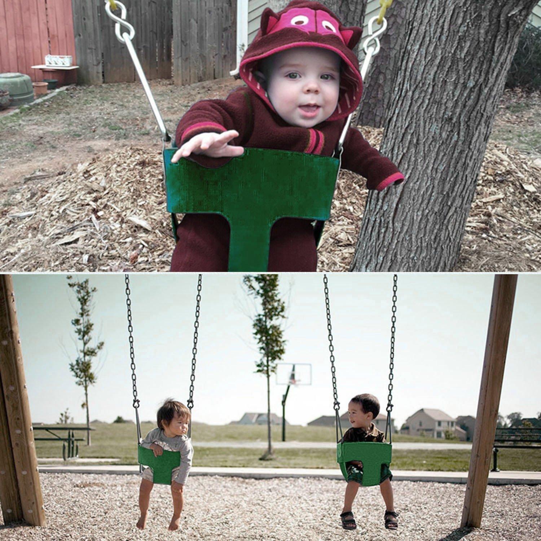 ベビーハイバックフルバケット幼児用シートwith Coatedスイングチェーン完全に組み立てられ自宅の庭、最高のギフトUR Kids [米国ストック] グリーン CINUE B07CGQ2BVM グリーン