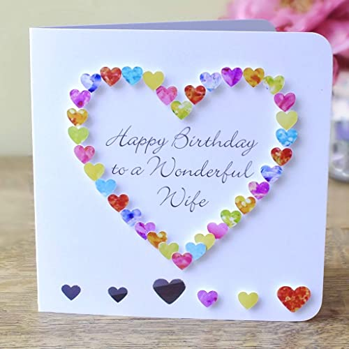 Happy Birthday To A Wonderful Wife Card Handmade 3d Multi Coloured