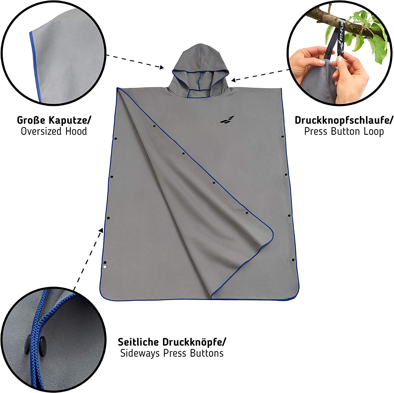 Fit-Flip Changing Robe for Women /& Men Towel Poncho in Microfiber also as Beach Changing Towel Dry Robe Surf Poncho compact and super lightweight