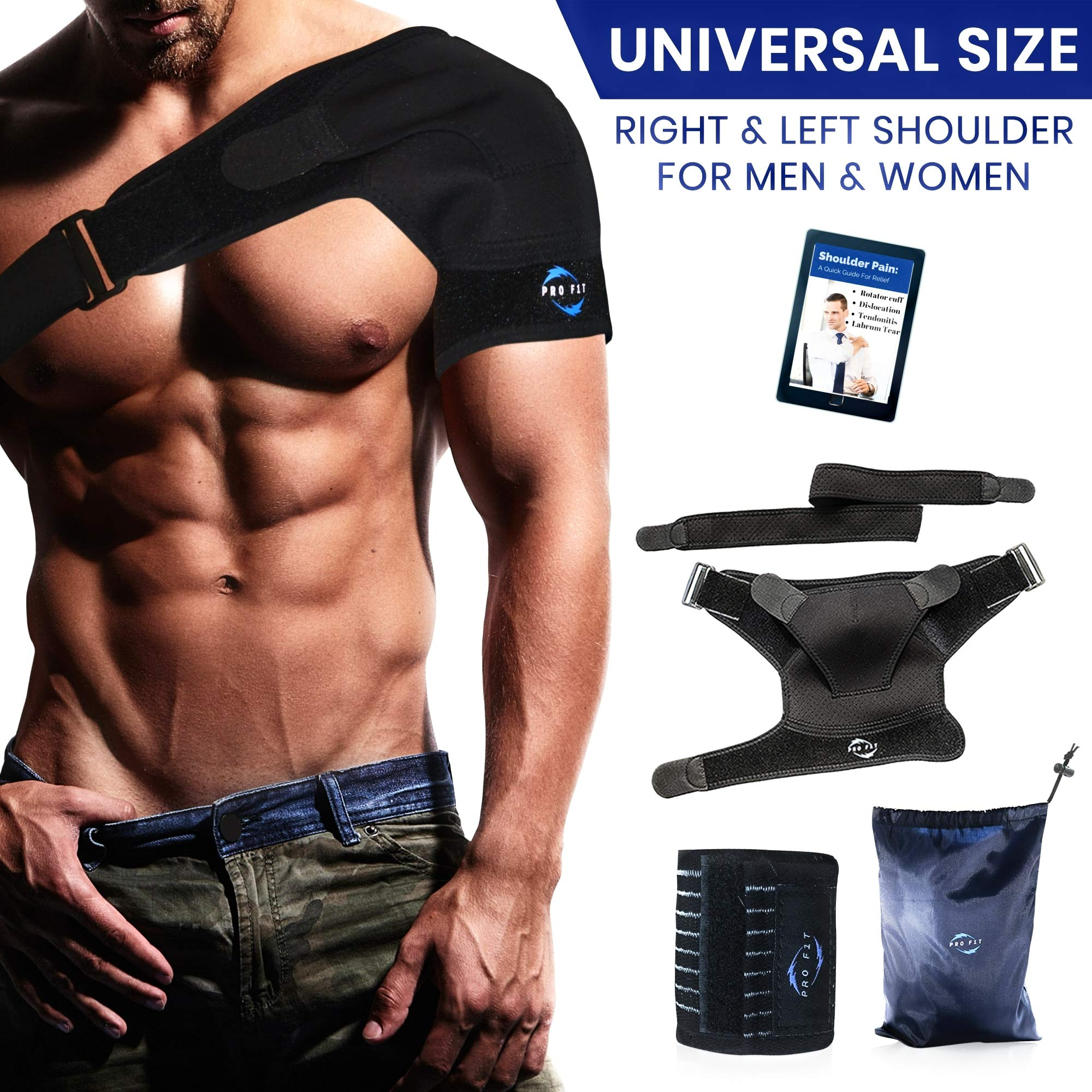 Shoulder Brace Support Kit | Copper Compression Sleeve | Breathable Neoprene, Pressure Pad, Wrist Brace + Carry Bag- Dislocated Rotator Cuff Tear Labrum, AC Joint,Strains, Frozen, Soreness Prevention
