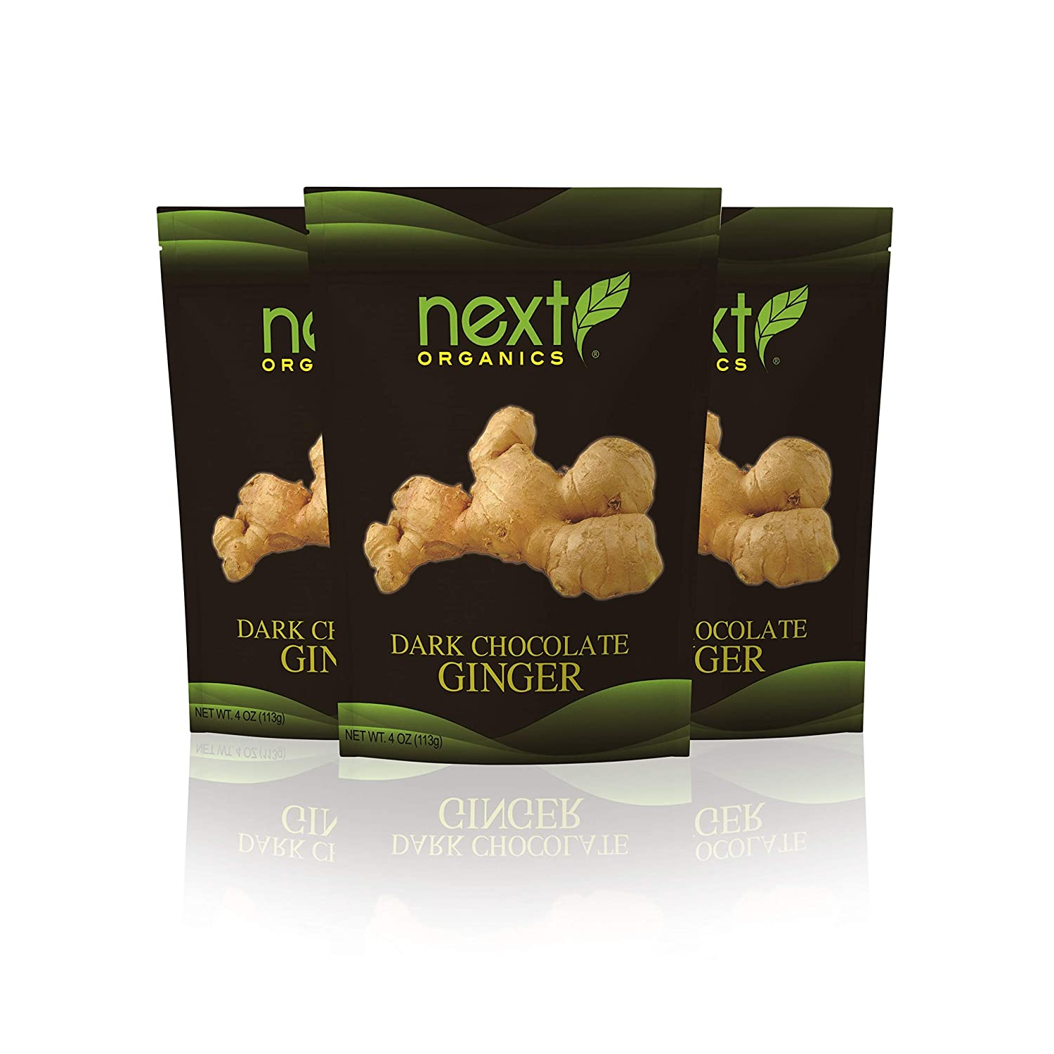 Next Organic Ginger Dark Chocolate Covered, 4-Ounce (Pack of 3)