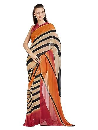 d3df5051af Women's Faux Georgette Printed Saree Mirchi Fashion Indian Clothes  (5422_Beige,Orange ...
