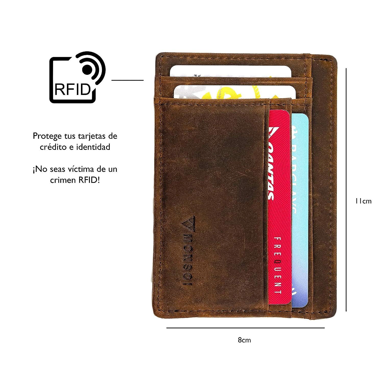 Cartera Pequeña y Minimalista RFID 100% Cuero con Monedero Cremallera | hasta 8 Tarjetas, Efectivo y Monedas | Tarjetero Delgado: Amazon.es: Equipaje