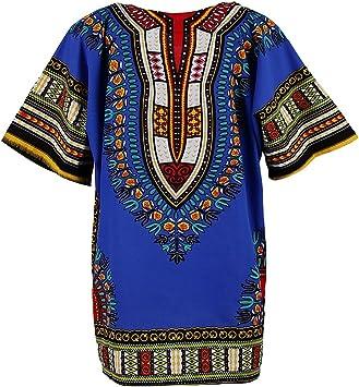 B Blesiya Camisa étnico Caftán Unisex Africanas Vestido Algodón Dashiki Adorno Tradicional Mujer Ropa Ligero - Azul Real: Amazon.es: Deportes y aire libre