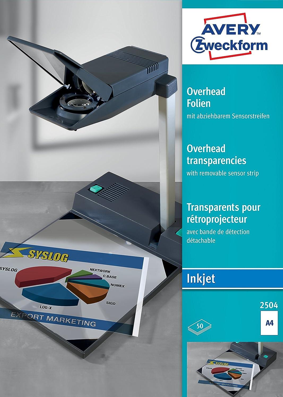 Avery Zweckform 2504 Films transparents pour rétroprojecteur Couché, traitement par lots, avec bande optique détachable 50 feuilles Epaisseur : 0, 11 mm (Import Allemagne) Avery Dennsion Zweckform