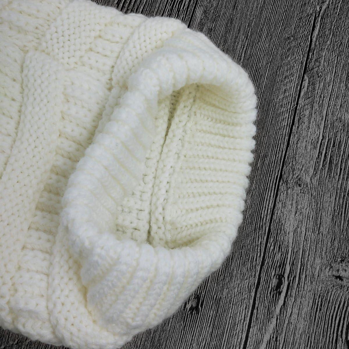 Lamdgbway Frauen Stricken Hut Winter M/ütze Strickm/ütze Strecken Pferdeschwanz Br/ötchen Hut