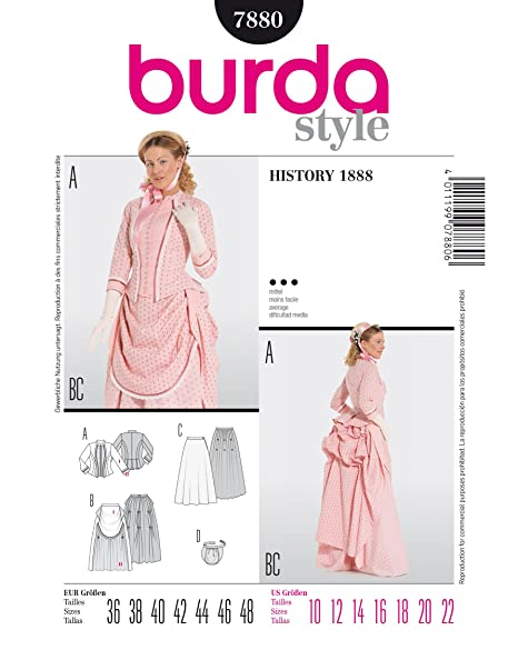 Burda Ladies Sewing Pattern 7880 Historical 1888 Bustle Fancy Dress ...