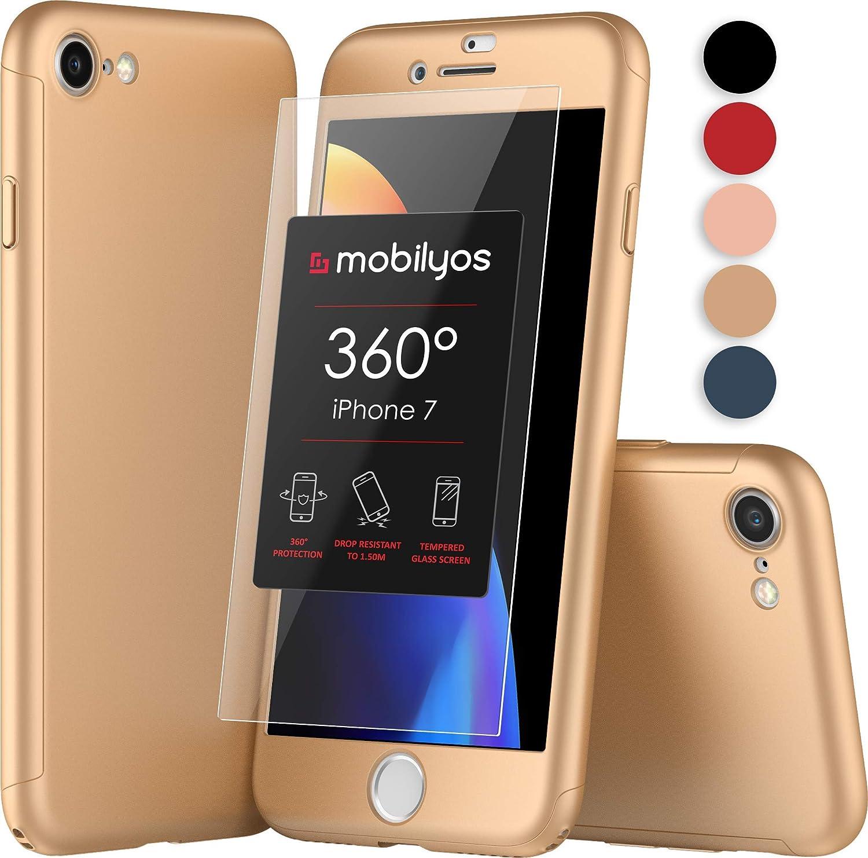 Mobilyos Funda iPhone 7 360 Grados Completa - Carcasa Integral con Protector de Pantalla de Vidrio Templado para Apple iPhone 7 - Funda Delantera y ...