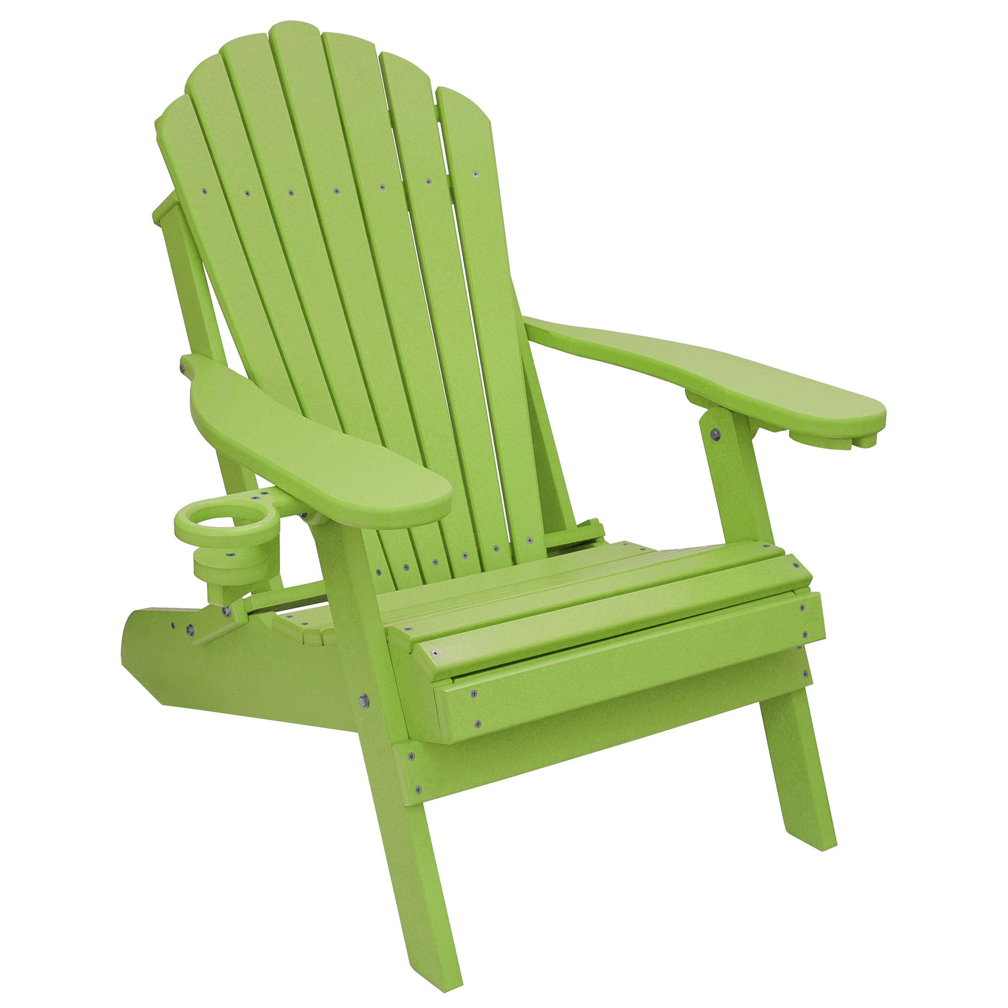 ECCB Outdoor Outer Banks Deluxe Oversized Poly Lumber Folding Adirondack Chair (Lime) by ECCB Outdoor