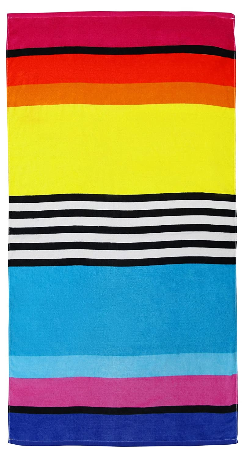 100% Pure Cotton Luxury Rainbow Stripe Multi Blue, Yellow Beach Towel - Modern Design, 75x150cms 5029497950853