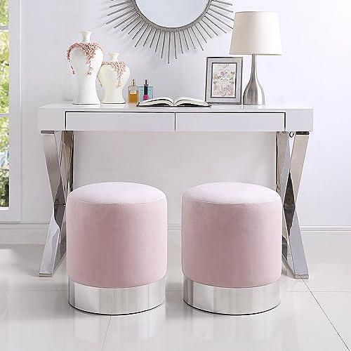 Inspired Home Elsa Blush Velvet Round Ottoman – Chrome Metal Base Upholstered Modern Contemporary 1 pc ONLY