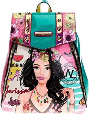 Studded Glossy Neon Floral Backpack with Adjustable Strap