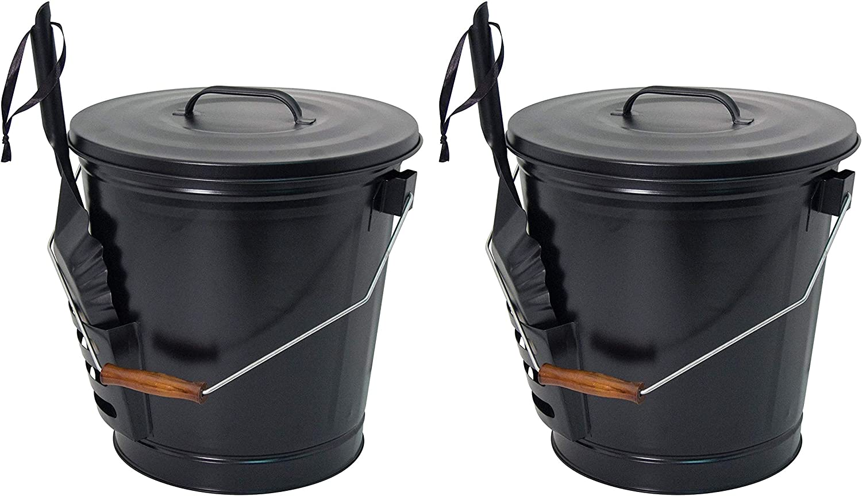 Panacea 15343 Ash Bucket with Shovel, Black 2-Pack