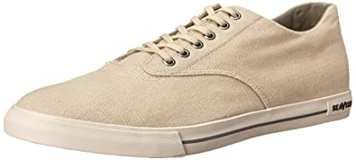 SeaVees Men's 08/63 Hermosa Plimsoll Core Tennis Shoe,Natural Vintage Wash  Linen,