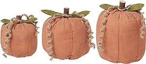 Collins Painting Fabric Stuffed Pumpkins Trio - Bundle of 3 Orange Fabric Pumpkins - Fall Decorations - Thanksgiving Decorations for Home - Autumn Decor