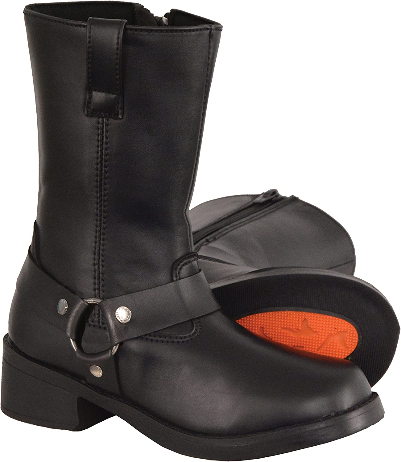 Black, Size 1 Milwaukee Leather Boys Youth Classic Harness Biker Boots