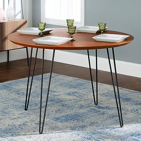Amazon Com Harvey Hairpin Leg Dining Table 46 Inch With Walnut Finish Tables
