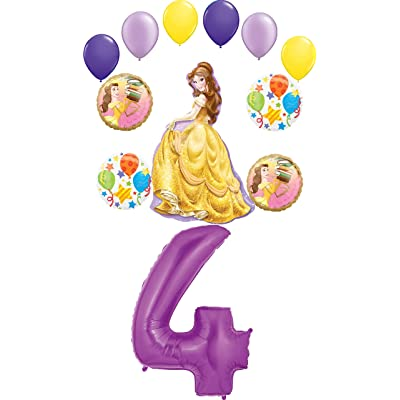 Beauty and The Beast Party Supplies Princess Belle 4th Birthday Balloon Bouquet Decorations: Toys & Games