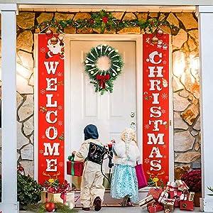 Yesnice Merry Christmas Banner,Front Door Christmas Decorations Outdoor Indoor   Merry Bright Porch Sign   Christmas Front Porch Decorations for Home Wall Door Apartment Party