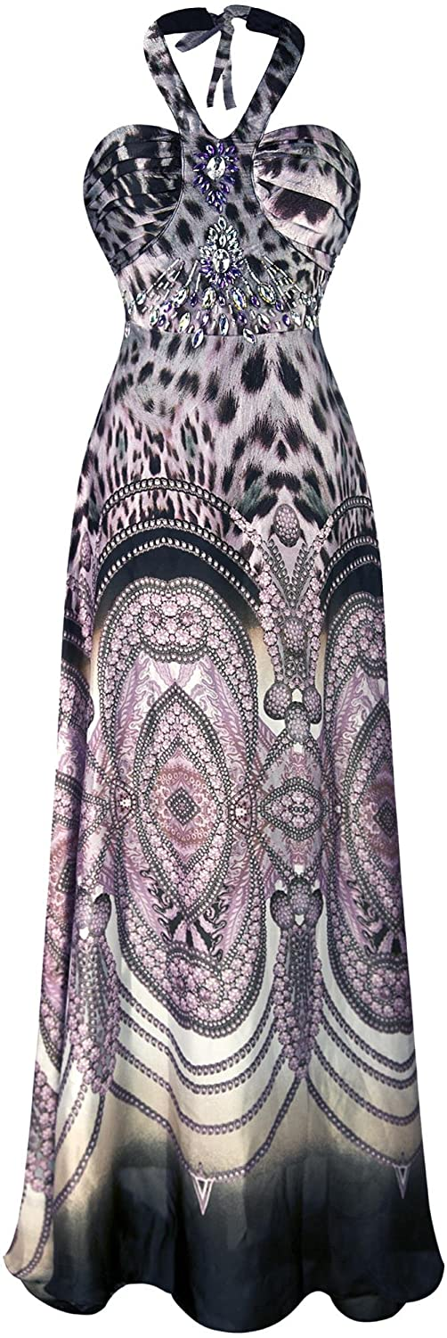 Angel-fashions Women's Halter Bead Chiffon Leopard Printed Ruching Long Dress