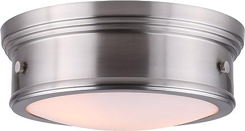 CANARM LTD IFM624A13BN Boku BN 2 Bulb 13 Inch Flush Mount Brushed Nickel with Flat Opal Glass