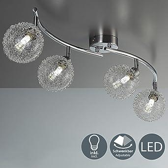 Lámpara de techo de barra con 4 x 3,5 W bolas de cristal, luz de ...