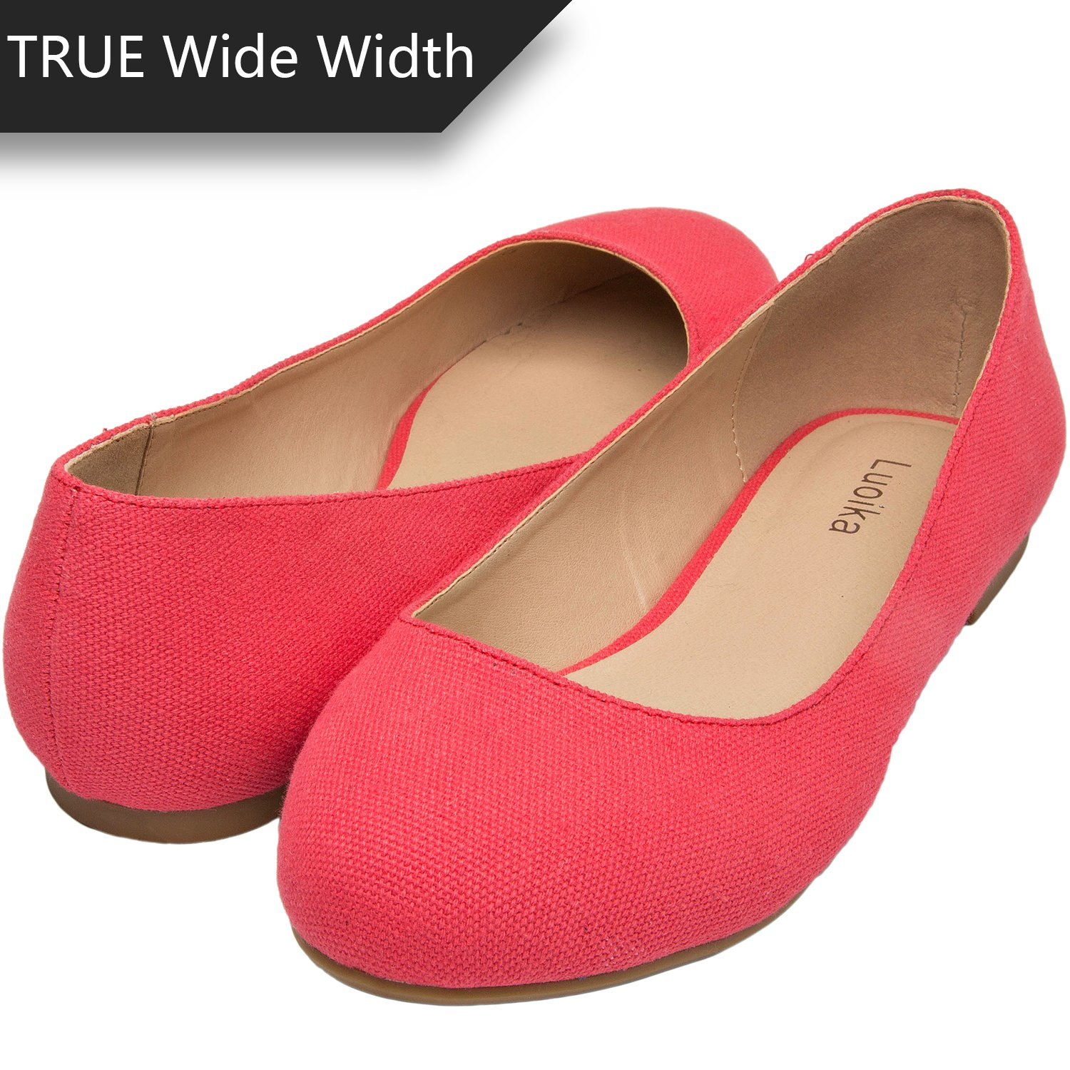 Luoika Women's Wide Width Flat Shoes - Comfortable Slip On Round Toe Ballet Flats (6 W(W) US, Red Canvas)