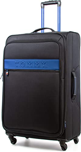 Tommy Hilfiger Network XL Softside Expandable Spinner Luggage, Black, 28 Inch