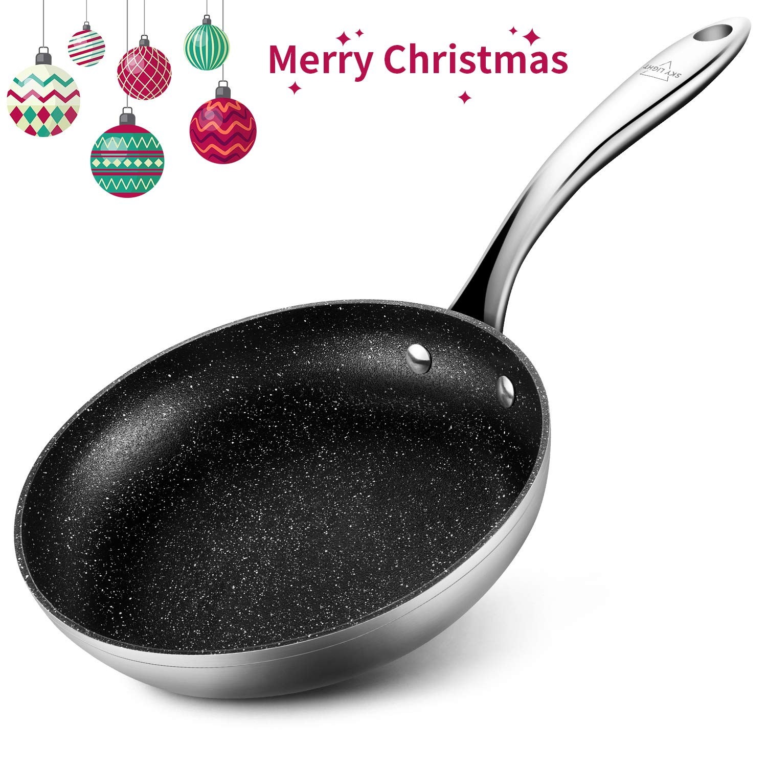 Stainless Steel Opening Skillet, 9.5 inch Nonstick Deep Fry Pan Tri-ply 430 Steel Omelet Pan Frying Pan Dishwasher Safe Oven Safe No-stick Cookware/Gift Box Included