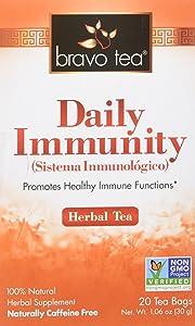 Bravo Tea, Daily Immunity (Triple Immunity Support) Herbal Tea, Caffeine Free, 20 Tea Bags