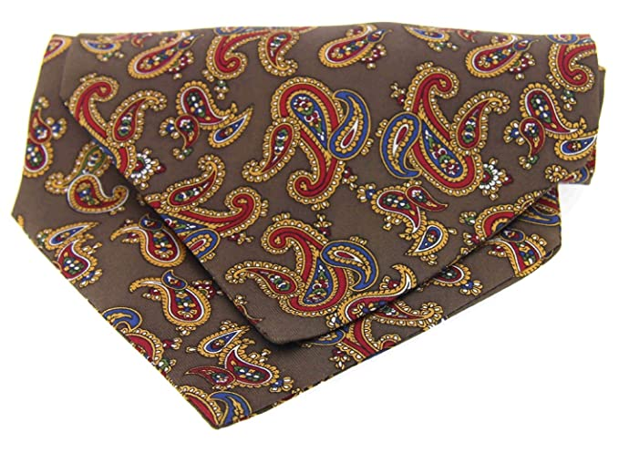 Soprano Corbata de seda marrón con estampado de cachemira: Amazon ...