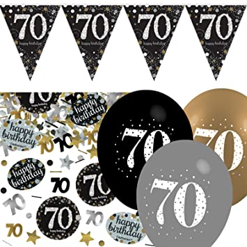 Black Silver Gold 70th Birthday Celebration Party Flag Banner Decoration Pack Kit Set Amazoncouk Toys Games