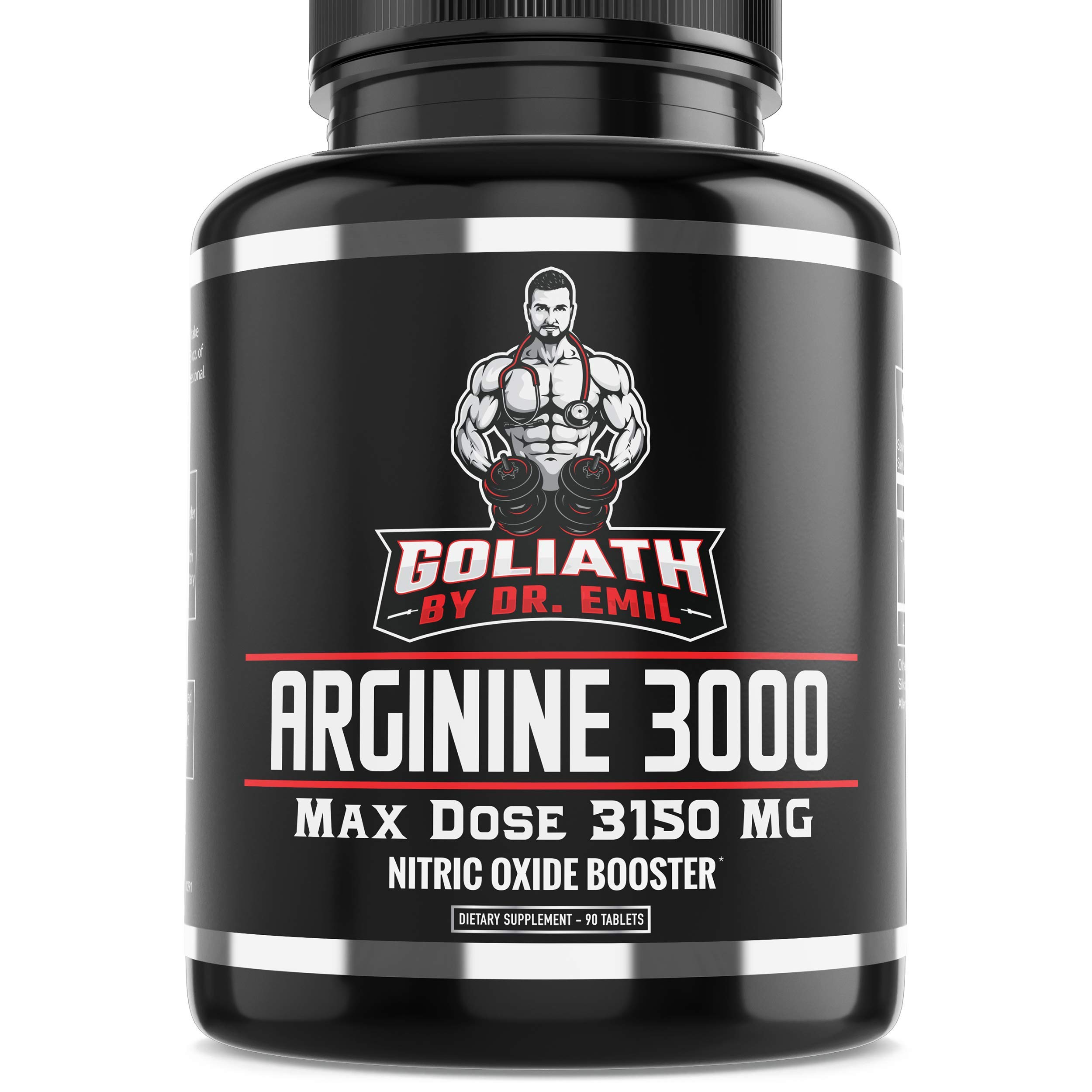 Dr. Emil - L Arginine (3150mg) Highest Capsule Dose - Nitric Oxide Supplement for Muscle Growth, Vascularity, Endurance & Heart Health (AAKG & HCL) - 90 Tablets