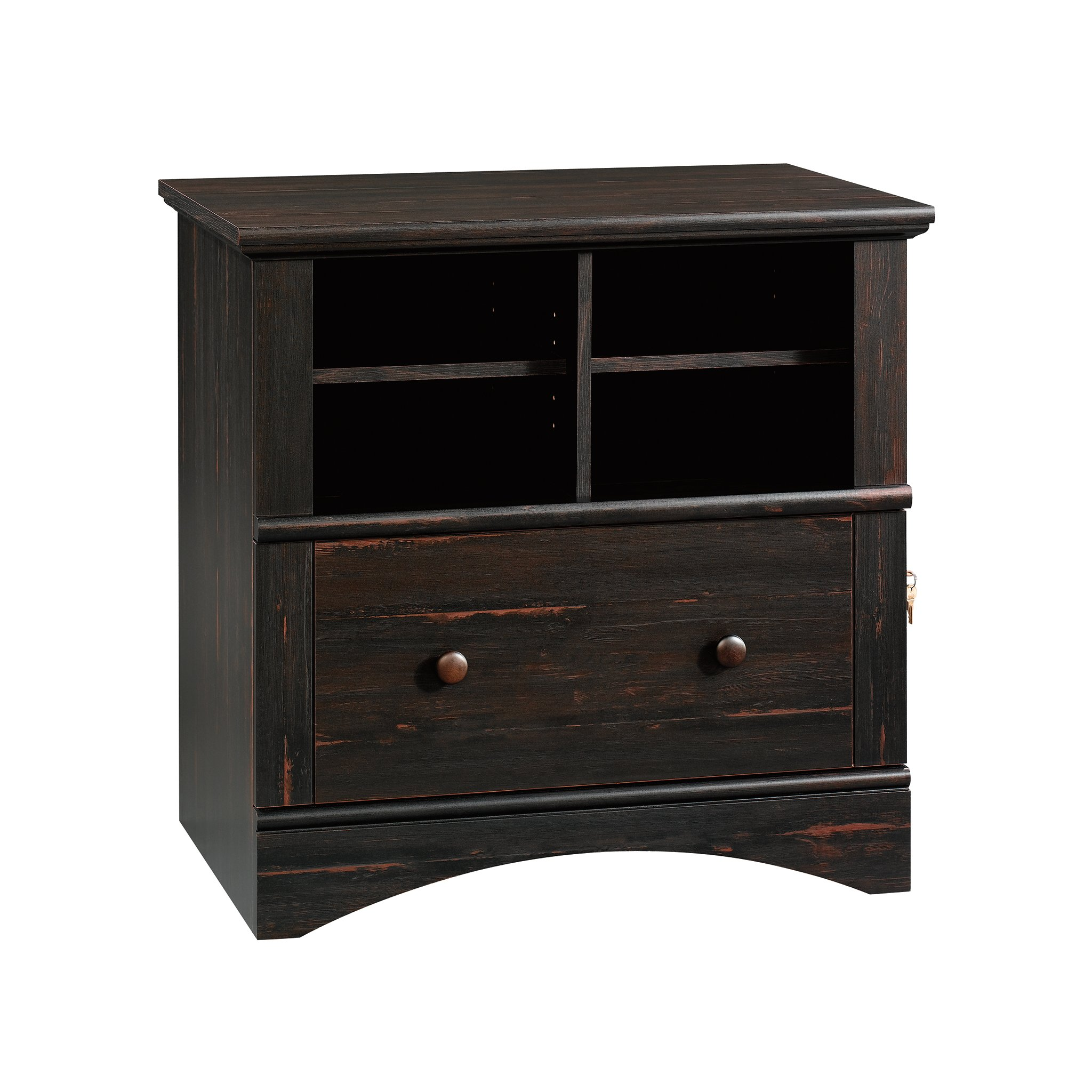 Details about Sauder Lateral File Cabinet Storage Antiqued Paint Finish  34.34x34.34x34.34 New