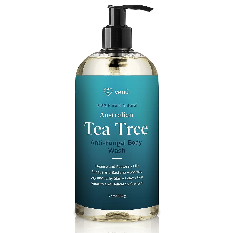 Therapeutic Tea Tree Oil Anti-Fungal Body Wash - Treats Athletes Foot Ringworm Toenail Fungus Jock Itch Acne Eczema & Body Odor - Promotes Healthy Skin & Nails - 100% Natural Skin Care Therapy - Venu
