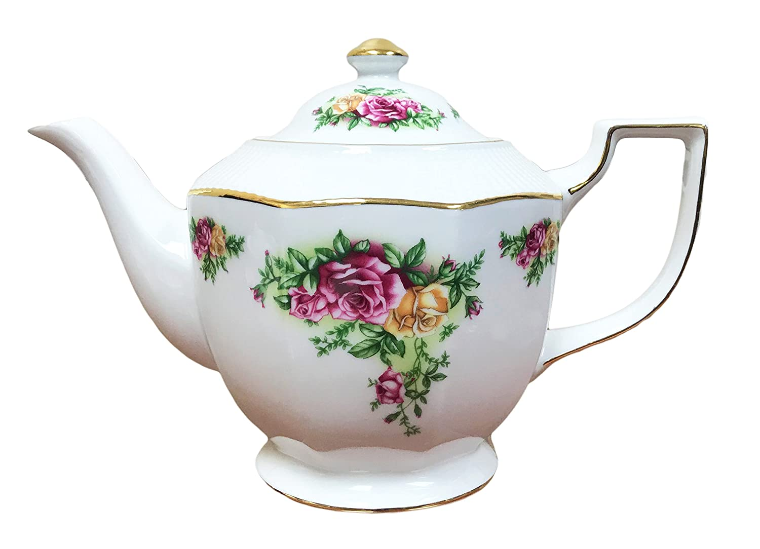 Hampstead Collection Porcelain Red Yellow Country Roses Teapot 1000ml (4 Cups) Homestead Heath