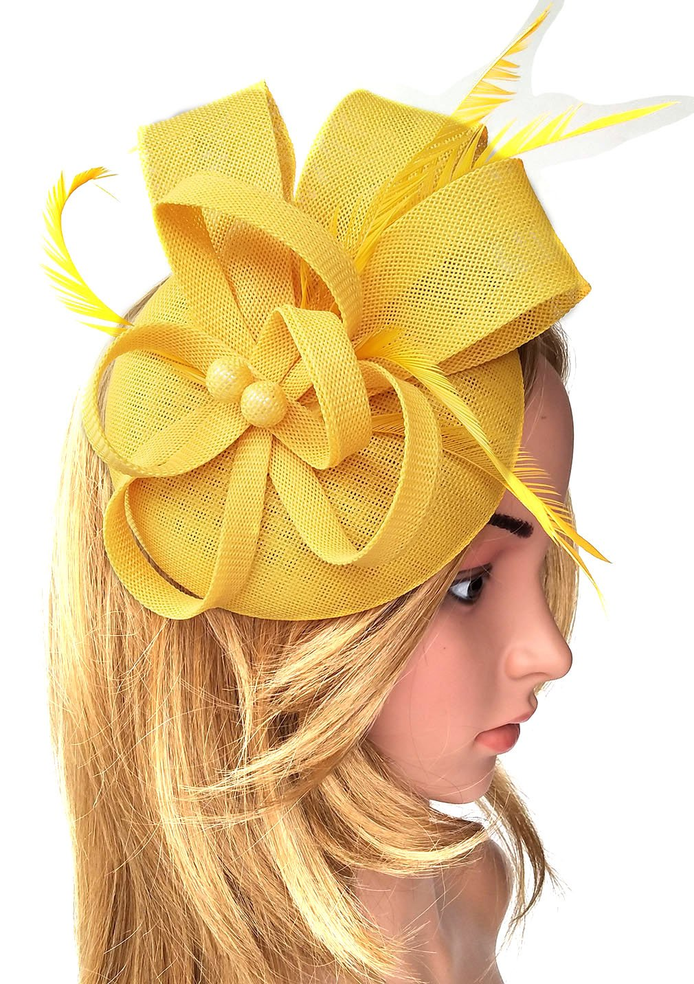 Biruil Women's Fascinator Hat Imitation Sinamay Feather Tea Party Pillbox Flower Derby (Yellow) by Biruil (Image #1)