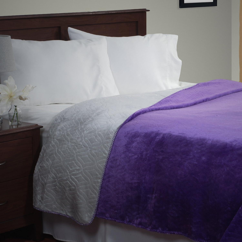 Lavish Home Super Warm Flannel-Like Reversible Blanket, King, Purple/Grey
