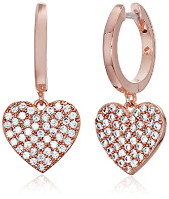 5df336fd307df Amazon.com: kate spade new york Pave Heart Rose Gold Drop Earrings ...