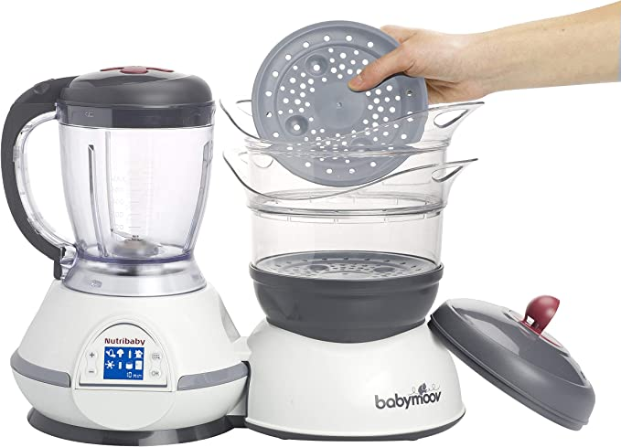 BABYMOOV Nutribaby Multi Function Baby Food Processor, Steamer, Blender and Steriliser, Cherry (UK Plug)