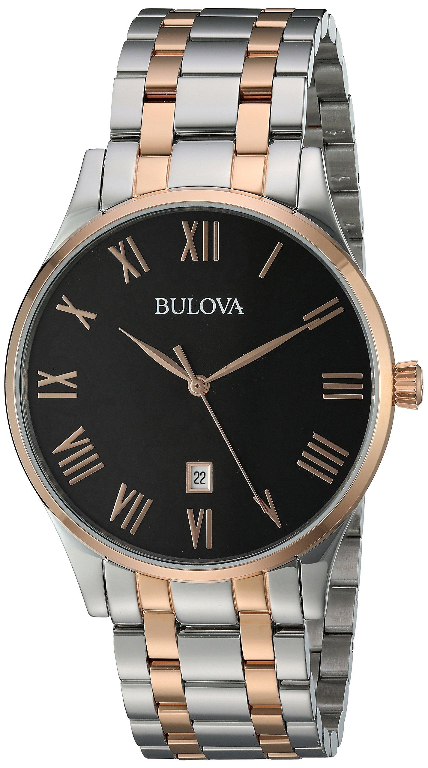 Bulova Men's Quartz Stainless Steel Dress Watch, Color:Two Tone (Model: 98B279)