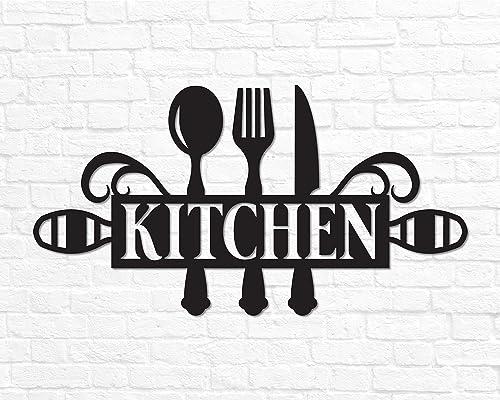 Amazon Com Metal Kitchen Sign Decor Wall Art Word Gift Cooking Housewarming Handmade
