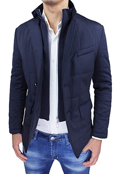 new product aab23 6921f Giubbotto Giacca Uomo Invernale Blu Scuro Elegante Giaccone ...