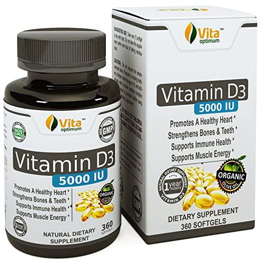 Vitamin D (D3) Pills 5000 IU by Vita Optimum - 360 softgels with Organic Olive Oil - Made in USA - 1 Year Supply