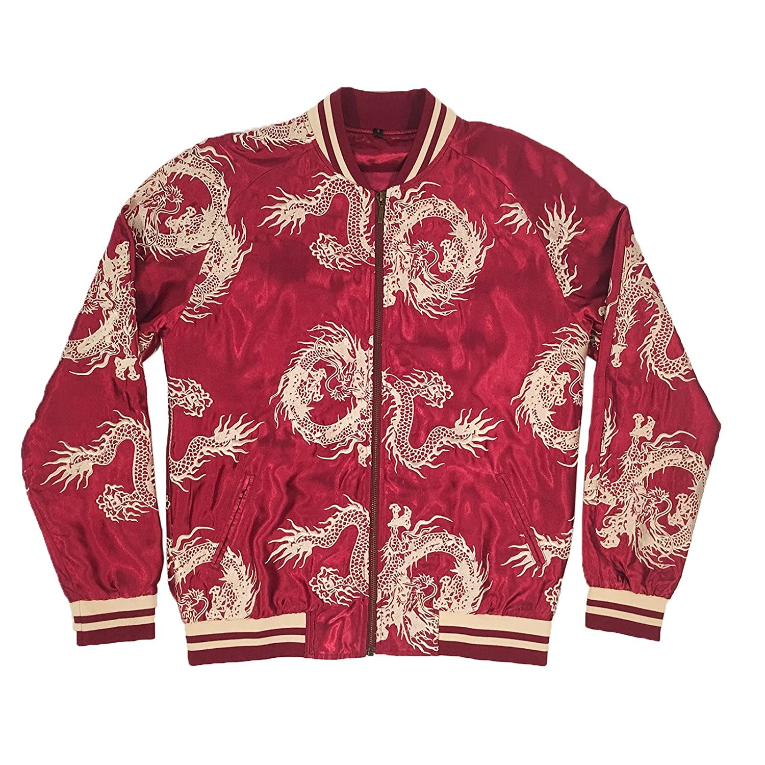 Standard Issue NYC Unisex Burgundy/Gold All-Over Dragon Souvenir Jacket