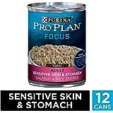 Purina Pro Plan Sensitive Stomach Pate Wet Dog Food, FOCUS Sensitive Skin & Stomach Salmon & Rice Entree - (12) 13 oz…
