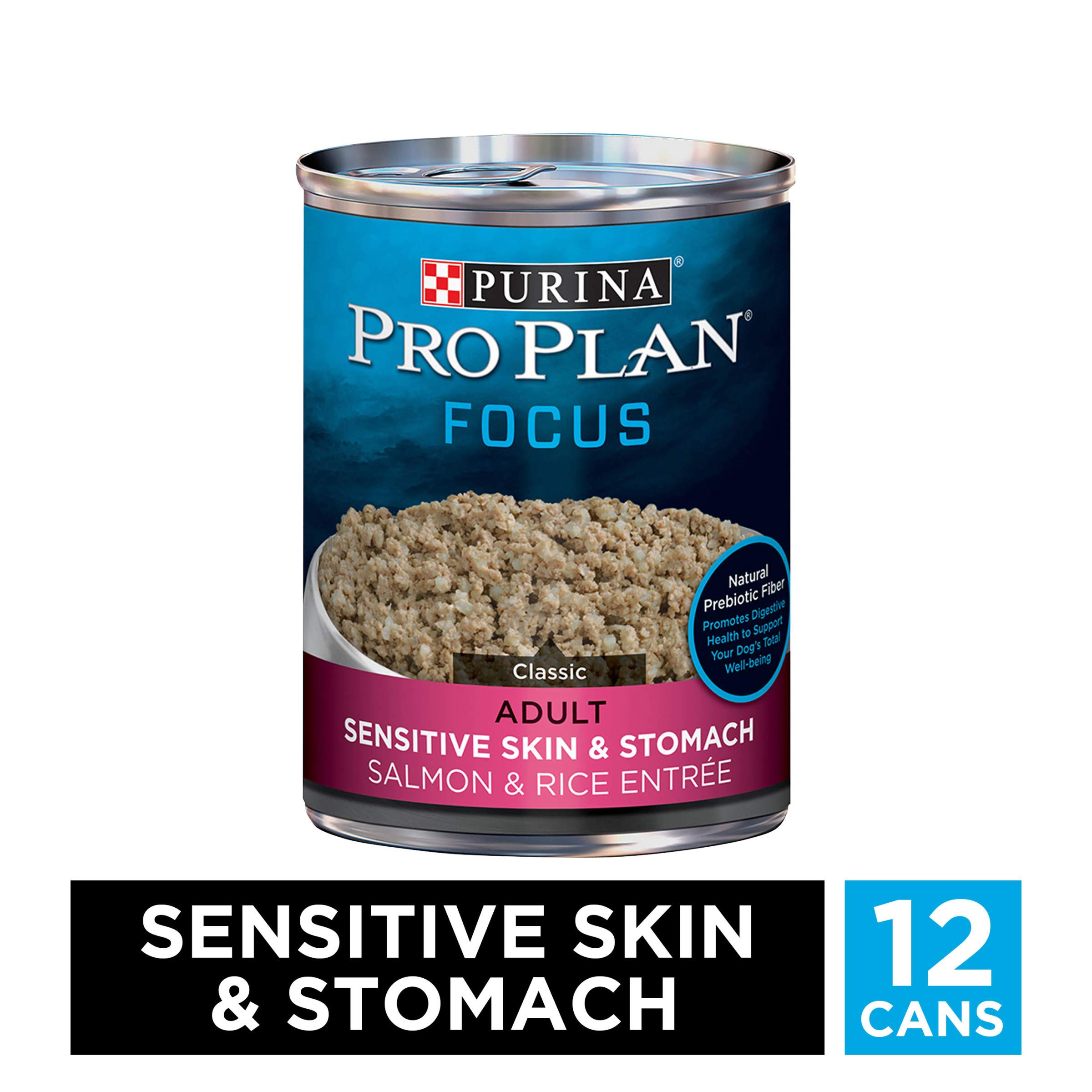 Purina Pro Plan Sensitive Stomach Pate Wet Dog Food, FOCUS Sensitive Skin & Stomach Salmon & Rice Entree - (12) 13 oz. Cans by PURINA Pro Plan