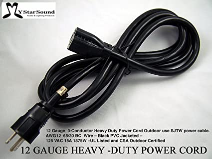 Extension Power Cord 10u0027 Heavy Duty 12 Gauge 3 Conductor Rated For Outdoor  Use.